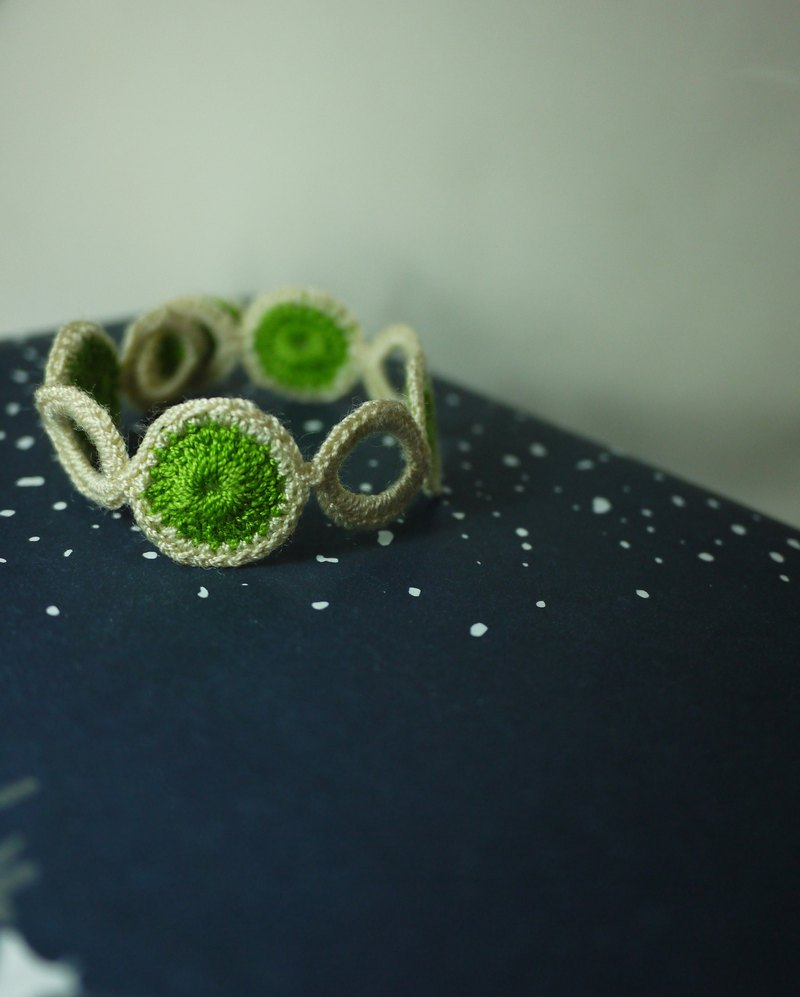 Wheat & Green Bracelet Several Circles Crochet Xmasgift Unisex