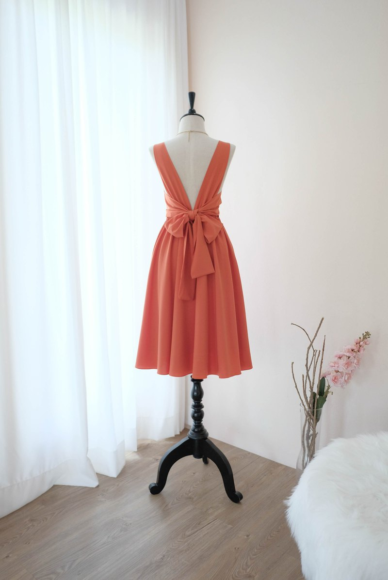 Rustic Orange Dress Prom Dress Bridesmaid Dress Cocktail Backless Mid length
