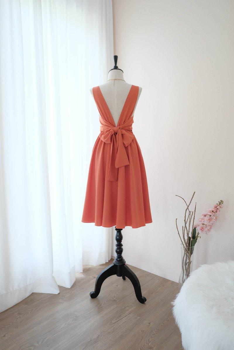 質樸的橙色禮服舞會禮服伴娘禮服雞尾酒露背中長