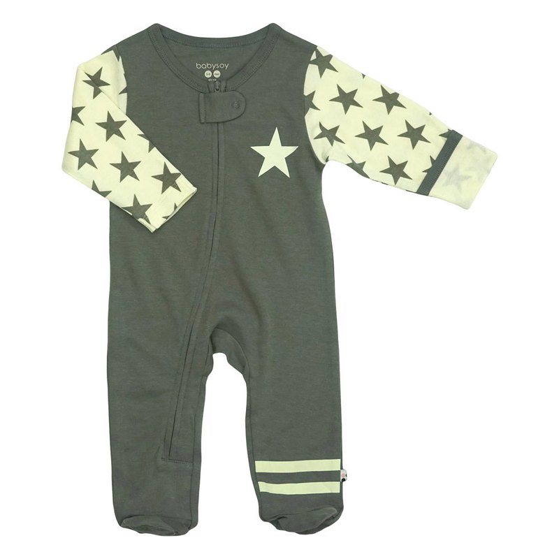 [Pre-order] American Babysoy-organic cotton fashion gray retro star footsuit jumpsuit