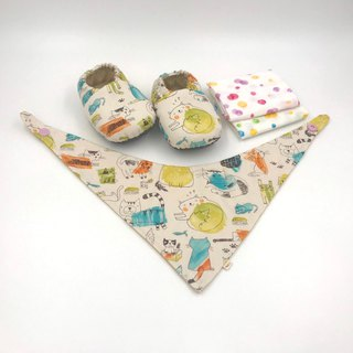 Watercolor painted cat - Miyue baby gift box (toddler shoes / baby shoes / baby shoes + 2 handkerchief + scarf)