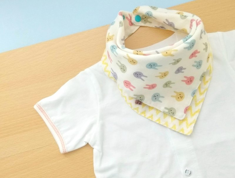 Baby Bandana Bib, 口水巾, Scarf Bib, Coloful Bunny, Japanese Double Gauze