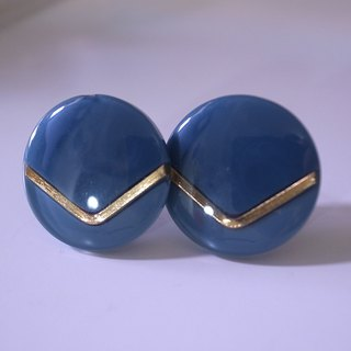 Light Gray Gold V Retro Earrings L (Clip/pin type)