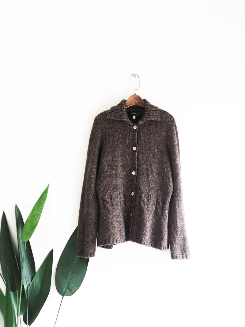 Coffee Tea Blend Twist Lapel Stereo Waist Antique Kashmir Cashmere Breasted Sweater Jacket Cashmere