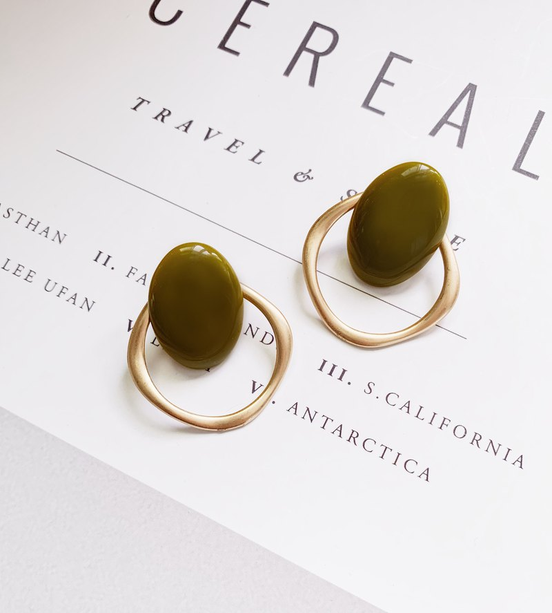 La Don - Ear Earrings - Olive Green Simple Circle Earrings