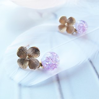 Rosy Garden Hydrangea crystal and water inside glass ball earrings