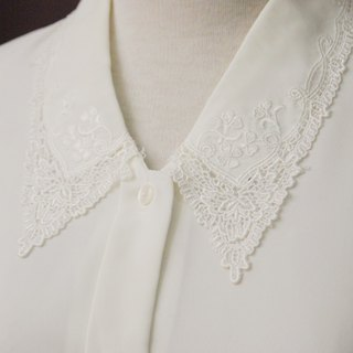Vintage Elegant Lace Embroidered Lapel Loose White Long Sleeve Vintage Shirt Vintage Blouse