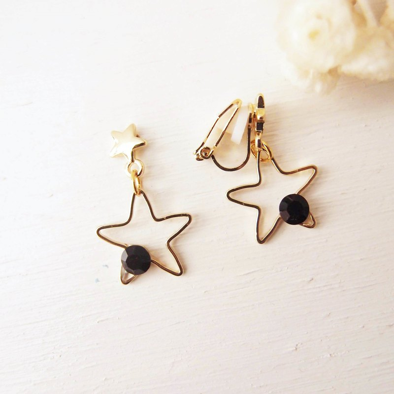 Our little stars x black x clip star earrings pin star earrings