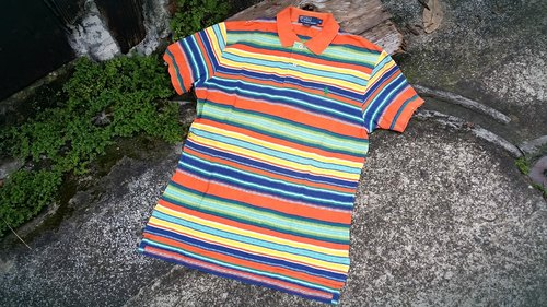 AMIN'S SHINY WORLD Featured American Rainbow Stripe National Wind POLO Shirt
