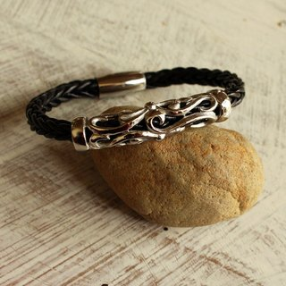 Bracelet - Majestic Braided (6 mm.) - หนังแท้ สีดำ / Leather Bracelet / 皮手镯