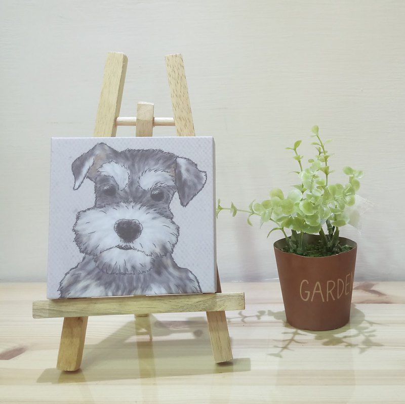Small picture frame - lightweight frameless painting - Schnauzer