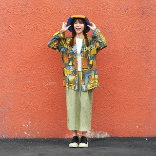 Maverick village Japan vintage vintage neutral retro long-sleeved shirt blouse 【Children's play brick pattern】 unique 【V-22】