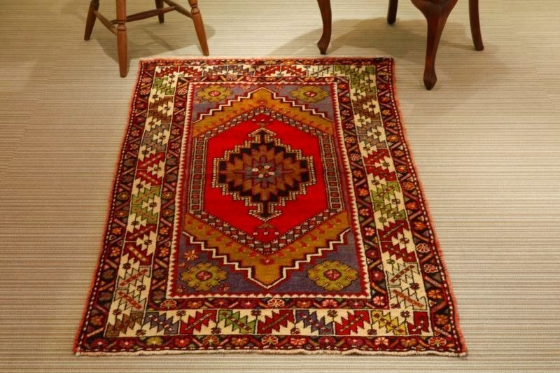 Hand woven carpet natural wool rug traditional design Turkish kilim 178×105cm