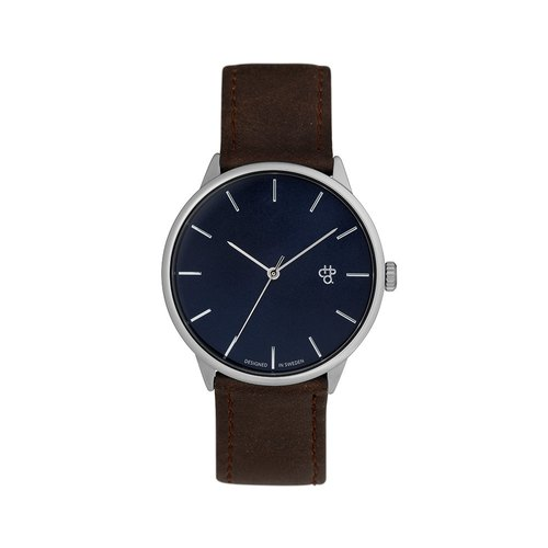 Chpo Brand Swedish brand - Khorshid silver-brown dial brown leather watch