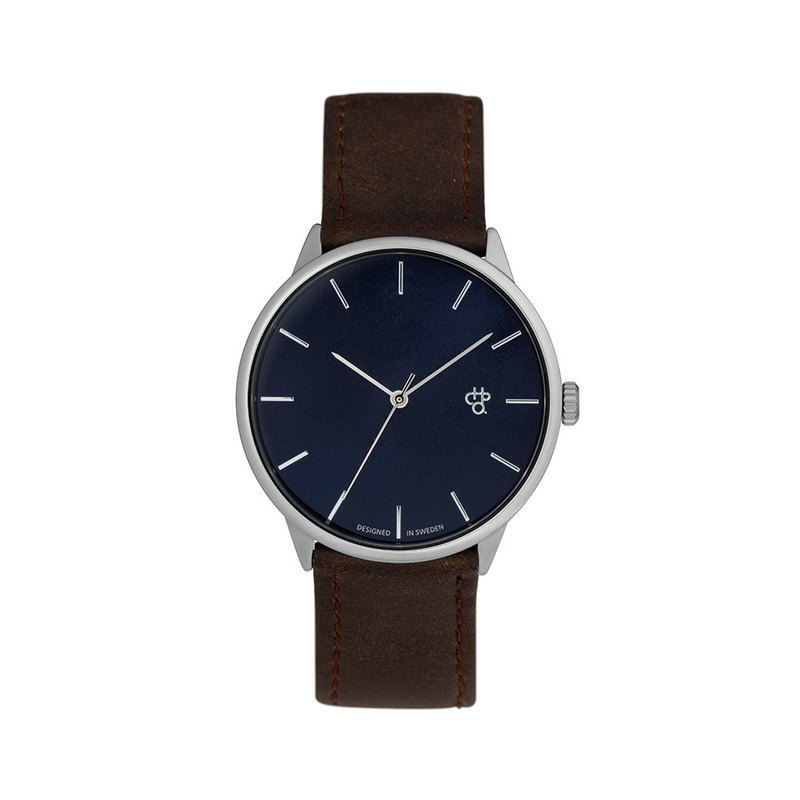 Khorshid Series Silver Blue Dial Brown Leather Watch