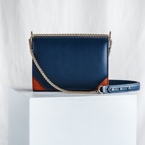 PANDORA LARGE - WOMAN LEATHER SHOULDER BAG- NAVY/BLUE