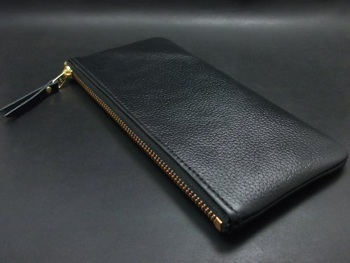APEE soft leather hand bag zipper ~ ~ ~ banknote bag embossed black