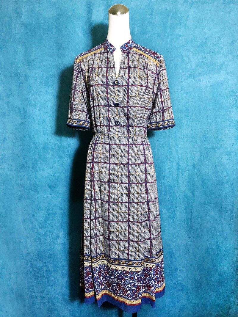 Flowers Check short-sleeved vintage dress / bring back VINTAGE abroad