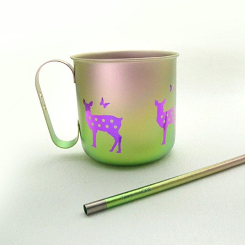 【日本製 Horie】鈦愛地球組合-純鈦馬克杯-悠然紫鹿+純鈦吸管-浪漫粉