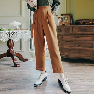 Early autumn wear new 2018 centuries retro fashion solid color with belt feet pants
