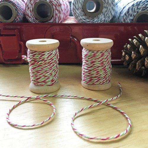 US imports Divine Twine tri-color cotton - wooden shaft packing 10 yards Christmas [Holiday]