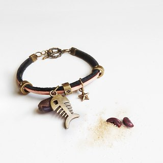 A small fish - leather rope bracelet