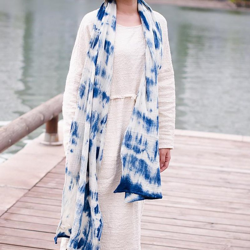 Classic cotton plant dyed scarf - sparkling natural environmentally friendly hand dye