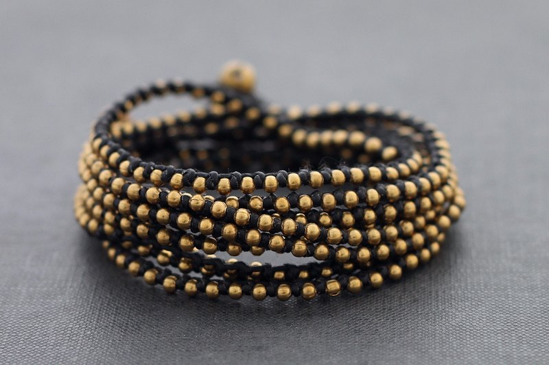 Black Brass Stud Woven Beaded Wrap Bracelet Anklet Multi Strand For Men And Women