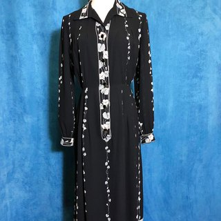 Vintage time [antique dress / elegant flower chiffon long-sleeved vintage dress] Vintage retro dress VINTAGE back