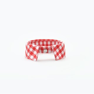 Among handmade 。pet necklace_red_ plaid