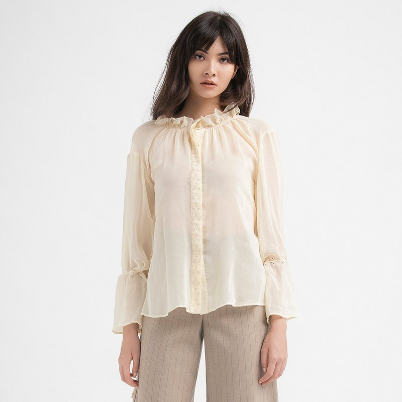 VACAE small ruffled neckline long sleeve top