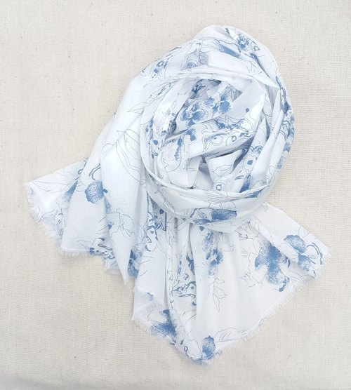 Blue Print Summer Scarf / Shawl
