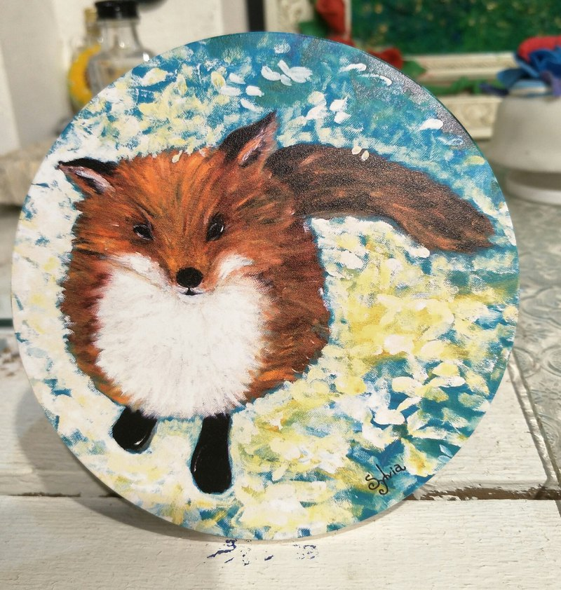 Painted as a stand-alone printed ceramic absorbent coaster