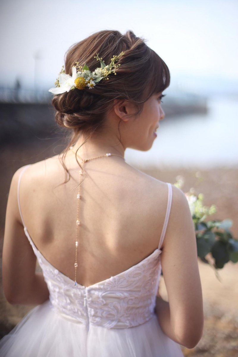 CLARETSwhite | Fresh Water Pearl Bridal Choker and Back Necklace