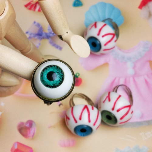 Distressed retro feel eye ring