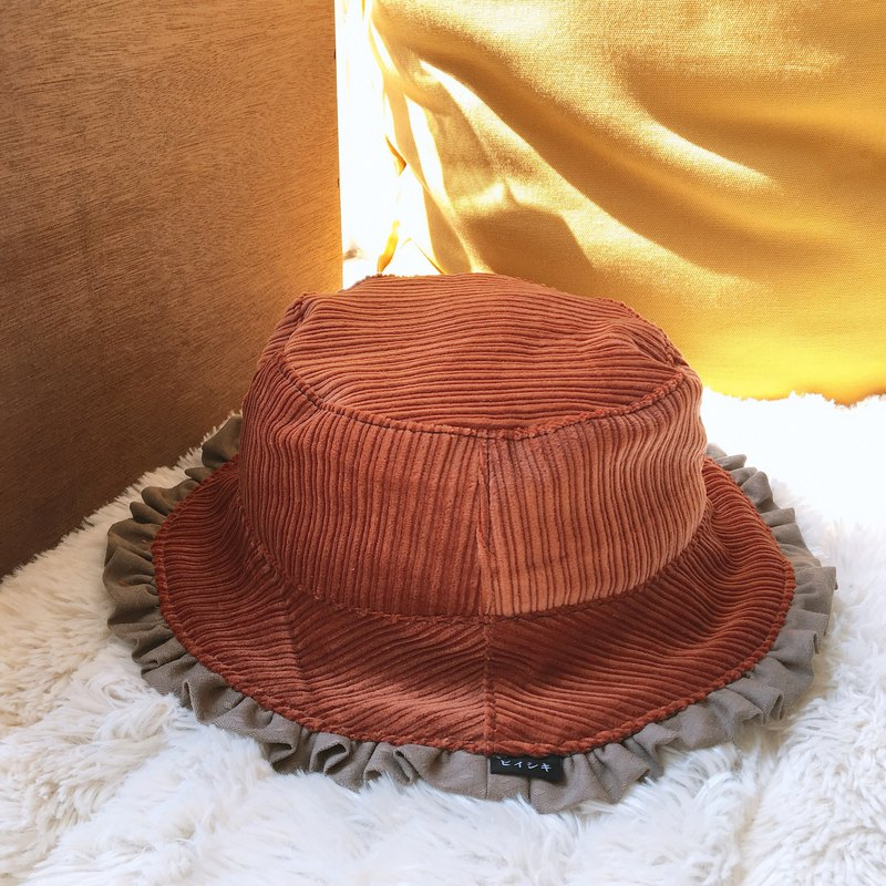 Orange corduroy with khaki double-sided fisherman hat