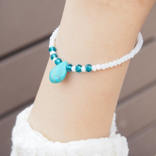 """KeepitPetite"" National Wind Turquoise · Jie Keqie surface water droplets bead bracelet hand ring *"