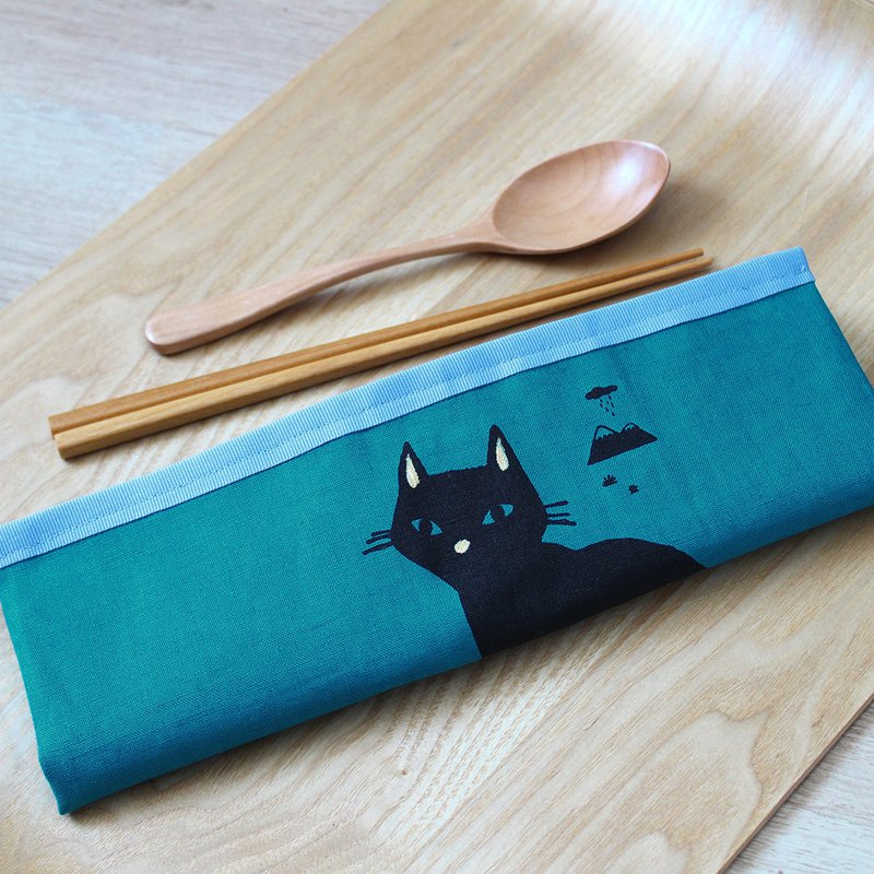 All-in-one POUCH GoodafternoonworkXPearlCatCat silkscreen BLACK CAT
