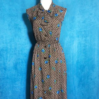 Blue Flower Totem Tie Sleeveless Vintage Dress / Bring back VINTAGE abroad