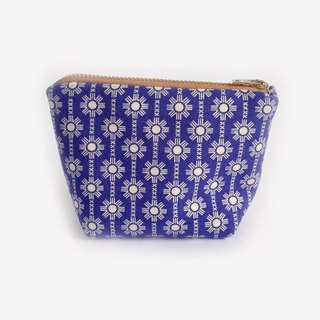 Coin Purse, Coin Pouch, Royal Blue, Geometric Blooms