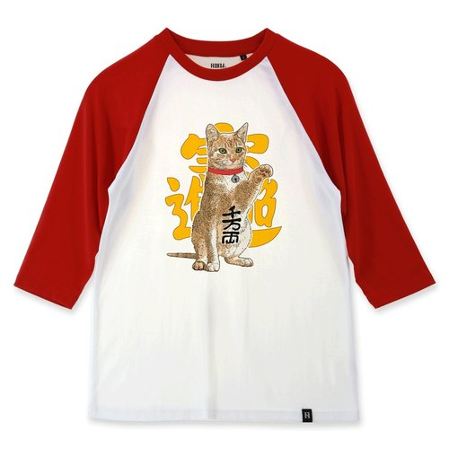 AMO®Original canned cotton adult 3/4 raglan T-shirt/AKE/Fortune Cat