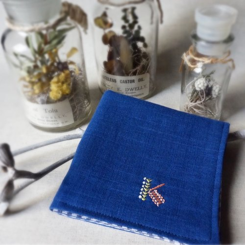 "Hand embroidered quadruple gauze handkerchief  ""initial/K"" [order-receiving production]"
