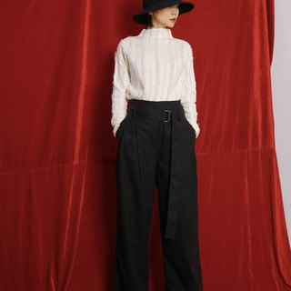 Loose Fit Oversize Open Slit Pants Trousers with Long Fabric Belt Black