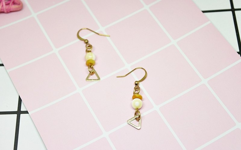 Brass X natural stone * leisurely * - hook earrings
