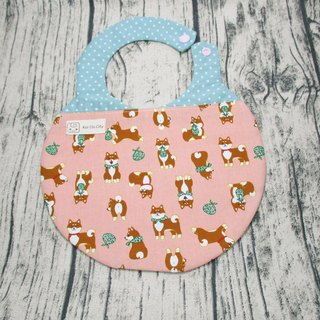 Mary Shiba Inu / Japanese double-layer cotton + two-layer yarn handmade double-sided absorbent bib. Snowman shape bib pocket