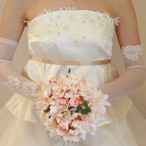 Wedding glove organza Long Grove [Liang]] elbow on length