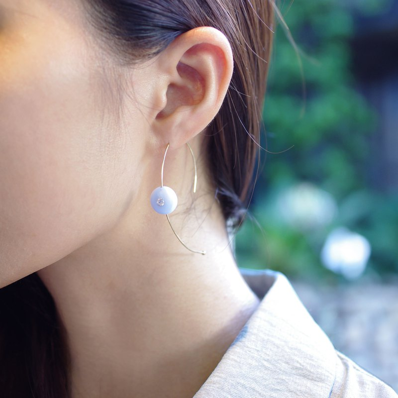 BLUE LACE CURVE classic 14K alloy blue onyx earrings
