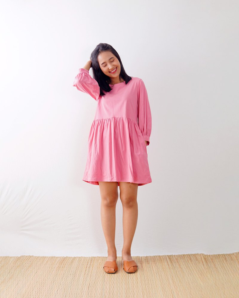 52 Colors / Cotton jersey knit puff sleeve smock dress / Babydoll dress