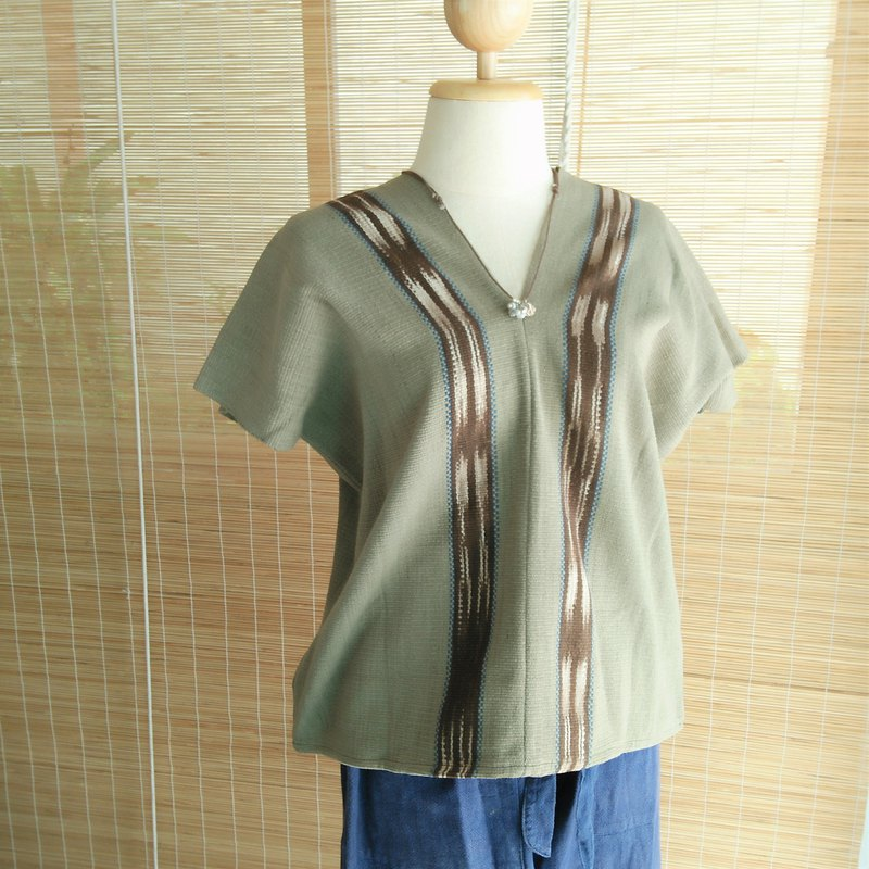 Thai plant dyed & hand-woven tops / moss green / koji dyed / ikat / cotton