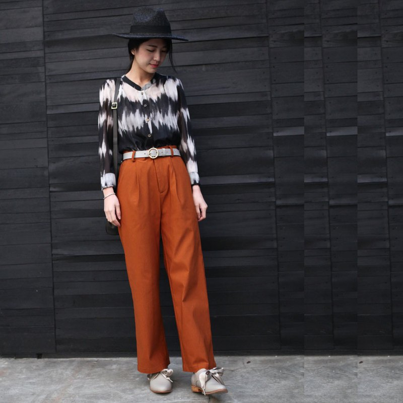 GT coffee orange pleated floor pants